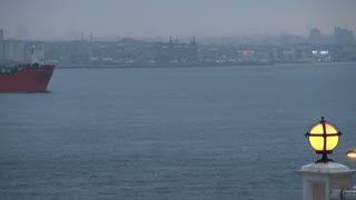Large Freighter Appearing on Bosphorus in Evening