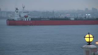 Large Freighter on Bosphorus in Evening