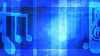 Large Music Notes Bright Blue