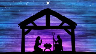 Large Nativity At Night. Religious Christmas Background