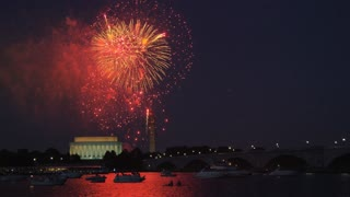 Large Orange Lincoln Memorial Fireworks