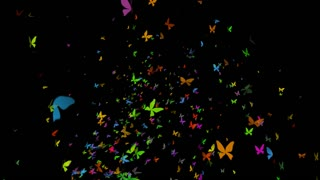Large Swarm of Butterflies flying Upward Loop