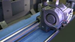 Laser cutting machine at work, close up
