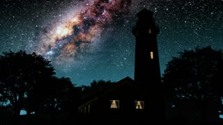 lighthouse and Milky Way stars at night. Elements of this image furnished by NASA