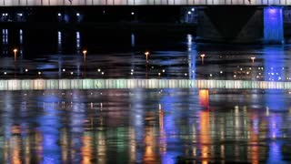 Lights Reflected From Bridge