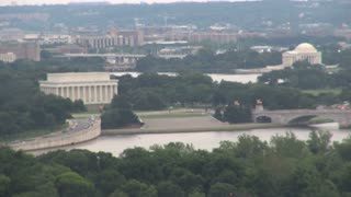 Lincoln and Jefferson Memorials Hazy Aerial