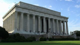 Lincoln Memorial Building Time Lapse Zoom Out. The exterior of the building housing the Lincoln Memorial statue in Washington D.C. Shot in time lapse on a beautiful late summer afternoon. Zooming out.