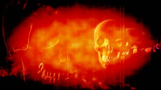 Line Of Skulls In Red