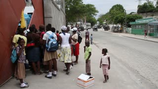 Lines Of People On Sidewalk At Vaccination Clinic