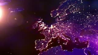 Lit Up European Continent Graphic