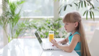Little girl sitting at table using laptop and looking at camera with smile