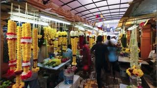 Little India, flower market on Jalan Tun Sambantham, Kuala Lumpur, Malaysia, South East Asia, Time lapse