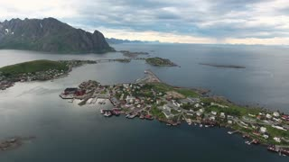 Lofoten archipelago islands Aerial footage