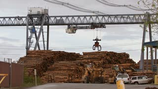 Log Grapple on Gantry Crane Repositioning at Mill