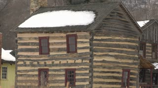 Log Home Antique Snowing