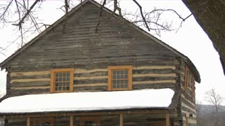 Log House Snowy Roof