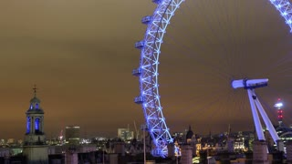 London Eye at Night Pan Right