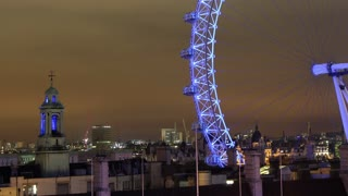 London Eye at Night Tilt Up Right Timelapse