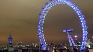 London Eye at Night Timelapse