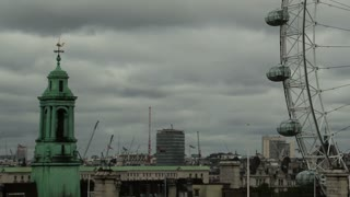 London Eye Dreary Day Pan Right TImelapse