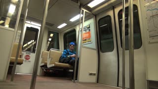 Lone Passenger in Empty Metro Train Arrives at Station