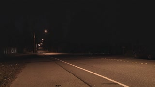 Lonely Deserted Neighborhood Street at Night