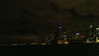 Long Shot of CN Tower and Toronto Skyline at Night