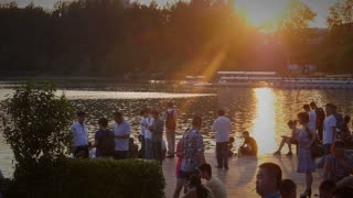 Long Shot of Sunset and People at Lake in Nanjing