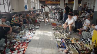 Long Shot of Vendors at Antique Market in Shanghai