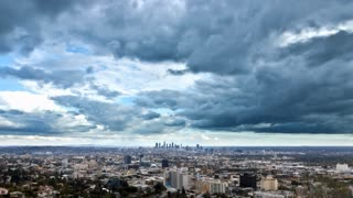 Los Angeles and Hollywood Dark Cloud Storm Overcast Timelapse