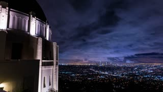 Los Angeles and the Griffith Observatory After Storm Night Timelapse