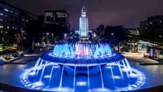 Los Angeles City Hall and Fountains Timelapse