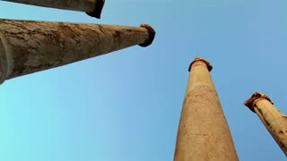 Low Angle Columns at Beit Shean Ruins in Israel