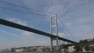 Low Angle View of Bridge Over Bosphorus