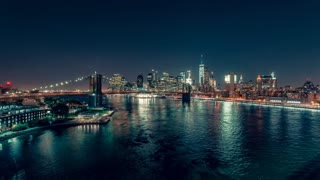 Lower Manhattan at Night | New York City | 4K timelapse stock footage of Brooklyn Bridge and the Lower Manhattan filmed from Manhattan Bridge.