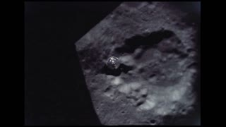 Lunar Module Departs to Moon Crater