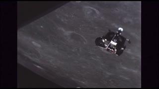 Lunar Module Floating By Moon