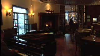 Luxurious Restaurant With Grand Piano And Fireplace