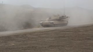 M1A1 Abrams main battle tank firing gun  of 4th Tank Battalion Annual Training