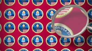 Magnifying glass looking for the best candidate for US president. Presidential election 4K animation seamless loop.