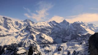 majestic snowcapped mountain panorama. winter landscape. alps glaciers