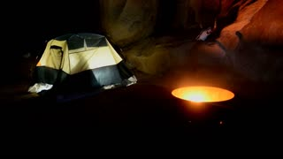 Man Camping In Tent