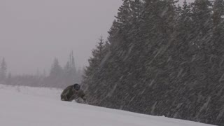 Man Falls While Hiking Through Heavy Snowstorm