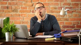 Man working from home in apartment