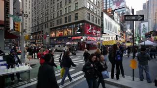 Manhattan, Broadway looking towards Times Square, New York, United States of America