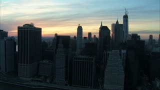 Manhattan City Building Sunrise Aerial
