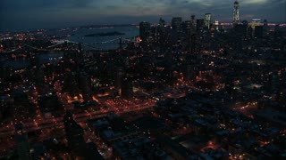 Manhattan East River Night Aerial