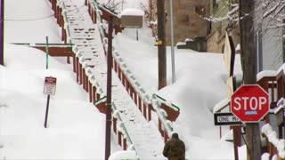 Man's Shovels Large Stairway In Park City Utah