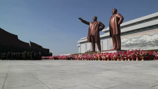 Mansudae Grand Monument, Statues of former Presidents Kim Il-Sung and Kim Jong Il, Mansudae Assembly Hall on Mansu Hill, Pyongyang, North Korea, Asia