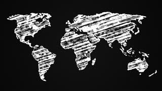 Map of the Earth painted with chalk on a black board, hand drawn animation 4K